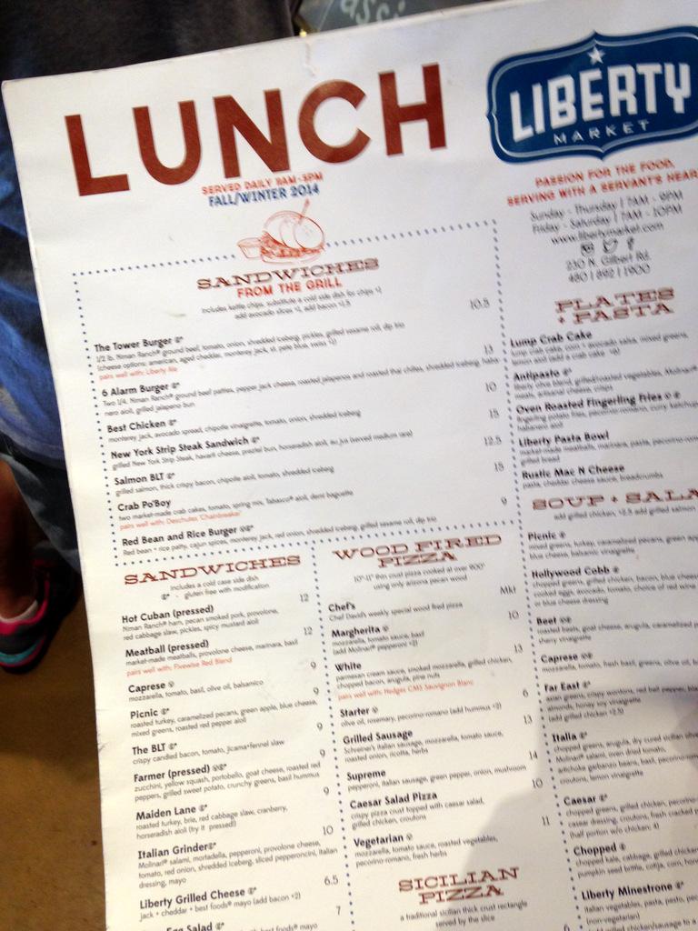 liberty market lunch menu